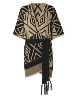 Jaquard Knit Cape, stickad cape