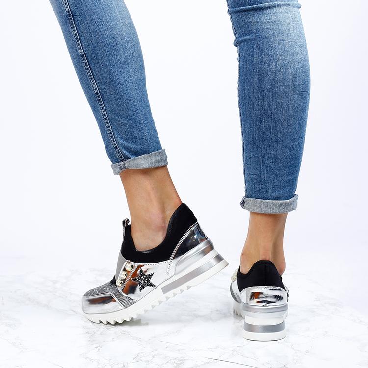 women sneakers kim in silver