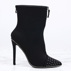 Footloop - women black high heels with bling