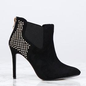 women heels with gold stress