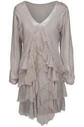 Underbar sidenklänning med volanger, 3 färger, one size