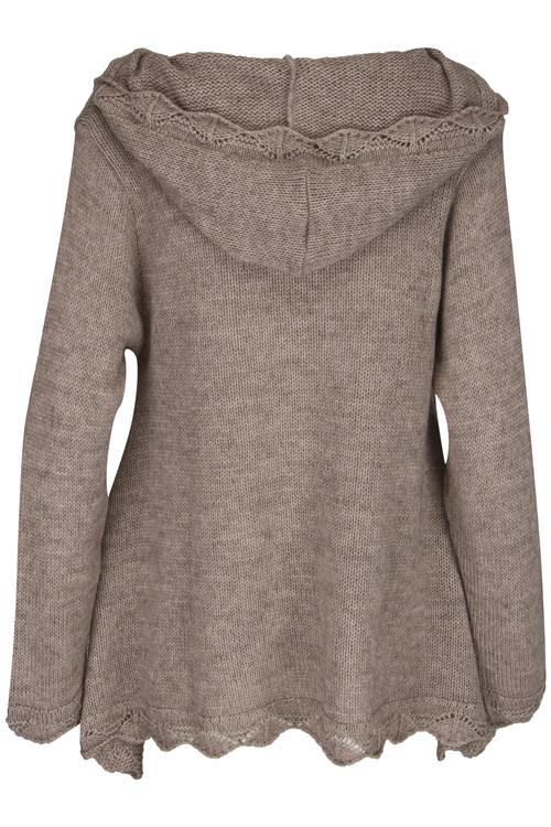 A linje formad stickad tröja, med luva från Design Werket