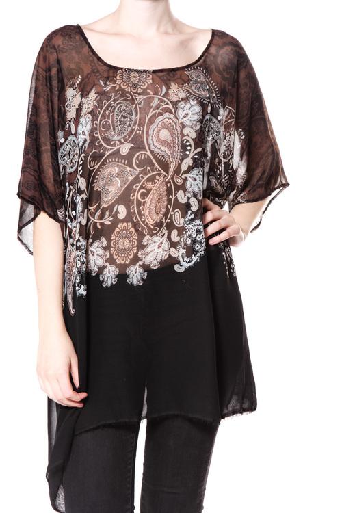 Tunika från Symptom, svart med mönster i bruna toner i bård, one size
