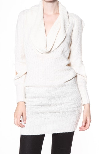 Karen By Simonsen stickad tunika/klänning Baboo 43057, vintervit eller svart