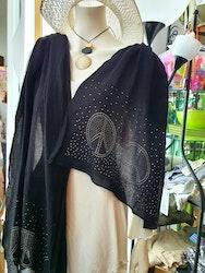 Skön, rejäl halsduk från Miel, med Peace tecken i strass