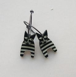 Örhängen svart/vit katt