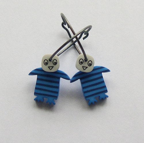 Örhängen blå pingvin