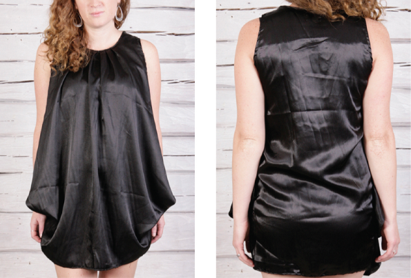 Svart tunika/klänning i satäng Madelene från Faith