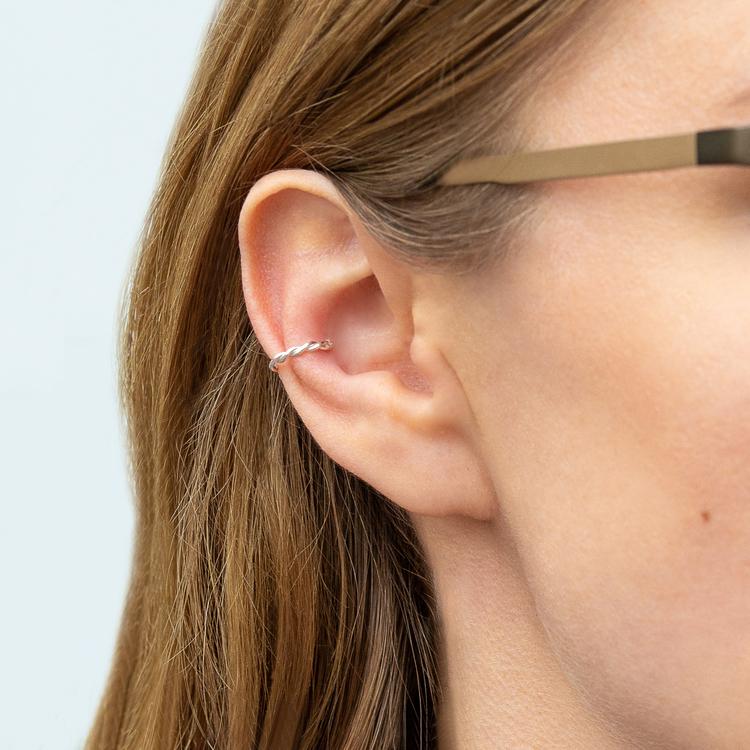 18k Ear Cuff Tvinnad Örhänge i äkta Återvunnet Guld