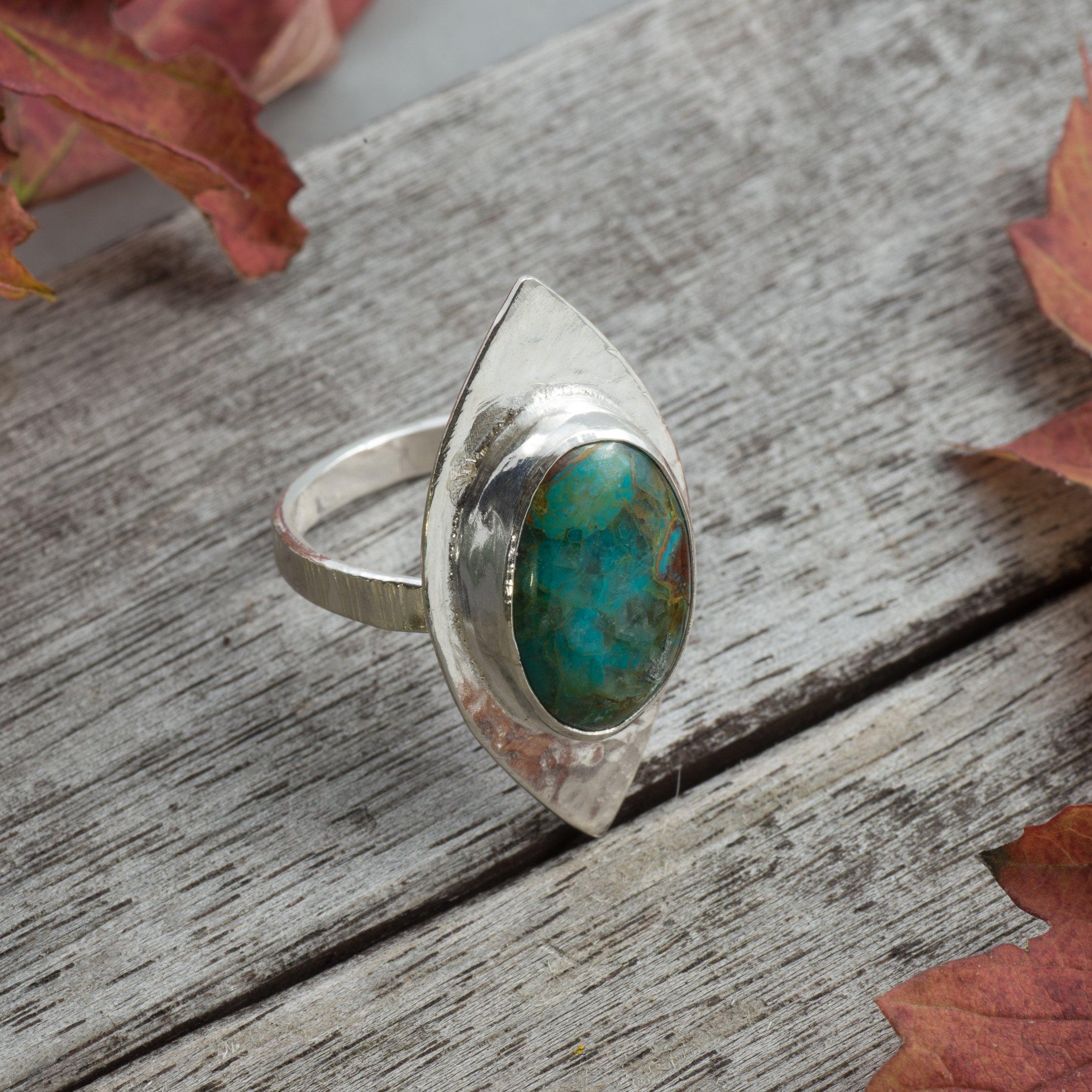 Lysa - Ring med Krysokoll Sterling Silver, Storlek 18,5, Grön