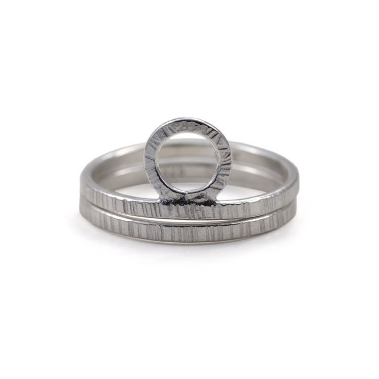 Bark - Ring Set i Återvunnet Silver