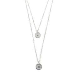Svala - Halsband med två Kedjor och Bokstäver i återvunnet Silver