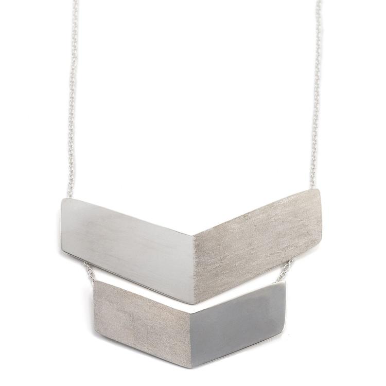 Chevron Halsband Återvunnet Silver