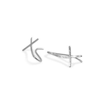Ear Climber Kors Örhänge i Återvunnet Silver