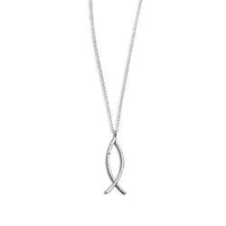 Halsband Ichthys Fisk Återvunnet Silver