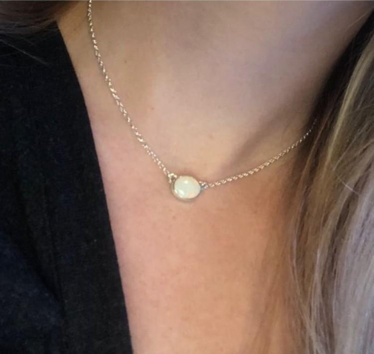 Halsband med blå opal Återvunnent Sterling Silver