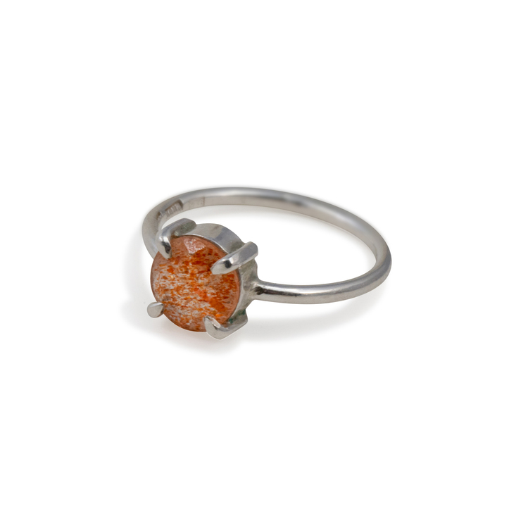 Ring med Sunstone Återvunnet silver, Orange Ädelsten.