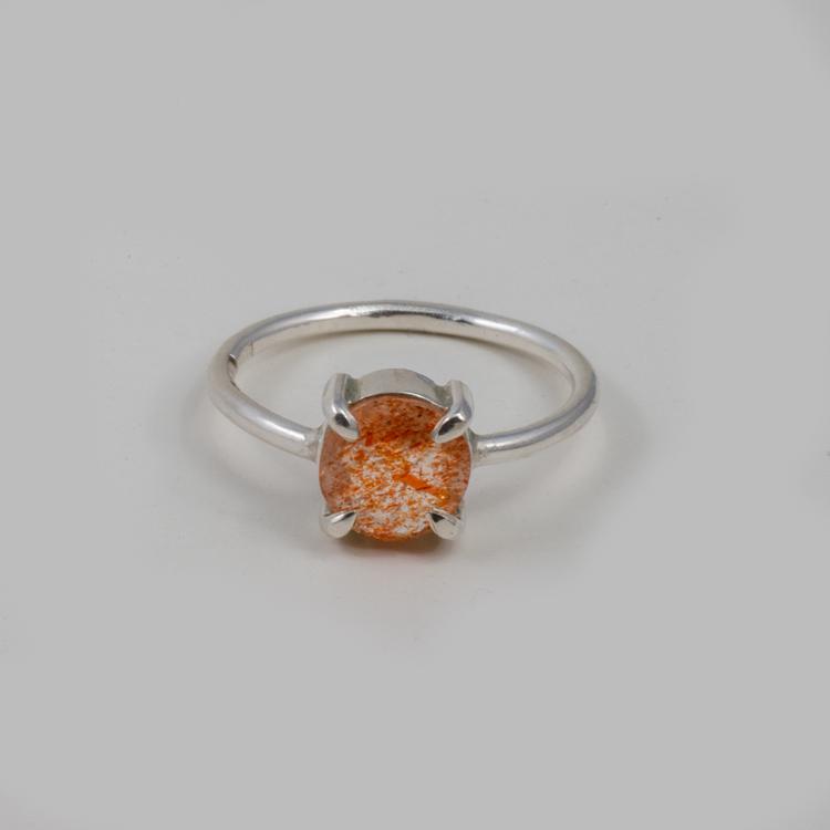 Ring med Sunstone Återvunnet silver, Orange Ädelsten.