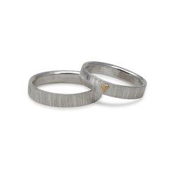 Ring Guldhjärta Bark 4,5 mm i Återvunnet Silver
