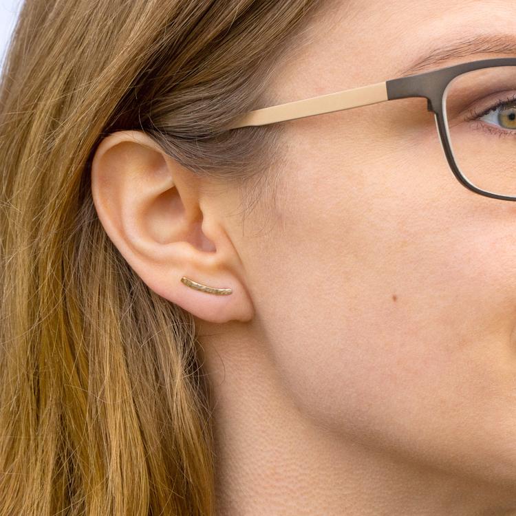 18k Ear Climber kort – Örhänge i Återvunnet Guld