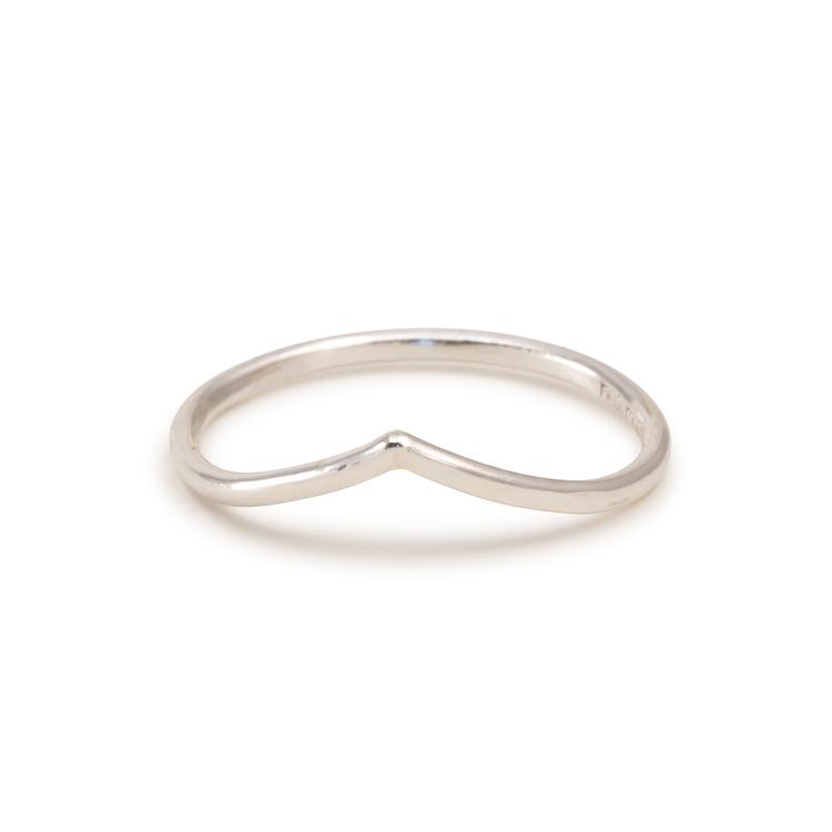 V-formad Tunn Ring 1,3 mm Återvunnet Silver