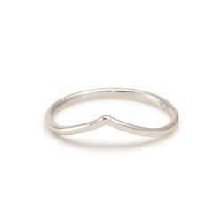 V Ring Tunn  1,3 mm Återvunnet Silver Chevron