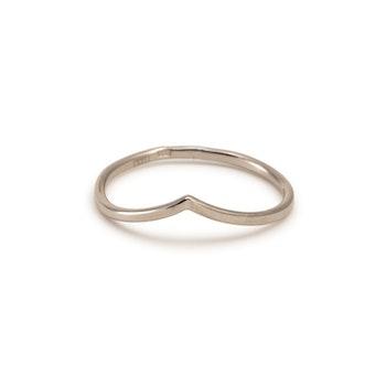 18k V Ring Tunn Vigselring Guld Chevron