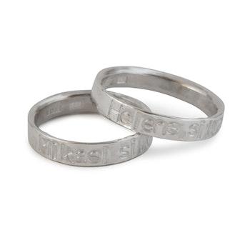Ring 4,5 mm med Egen Text eller Namn i Återvunnet Silver