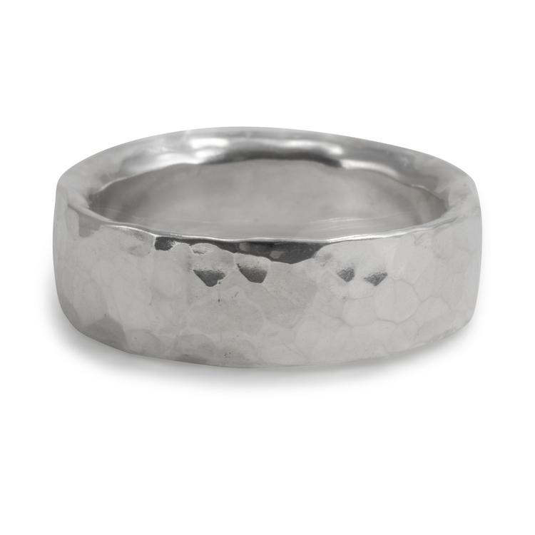 Handgjord bred silverring Återvunnet silver