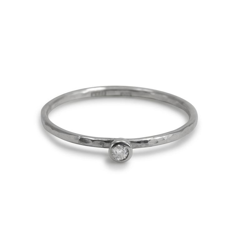 Handgjord ring Diamant Återvunnet silver