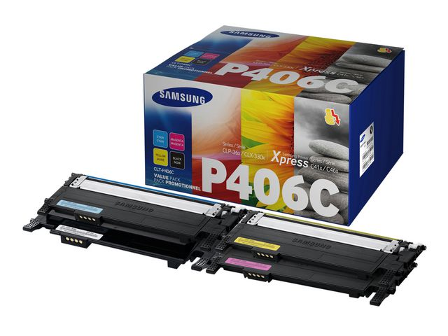 Toner CLT-P406C - Alla färger=Svart/blå/gul/röd - original