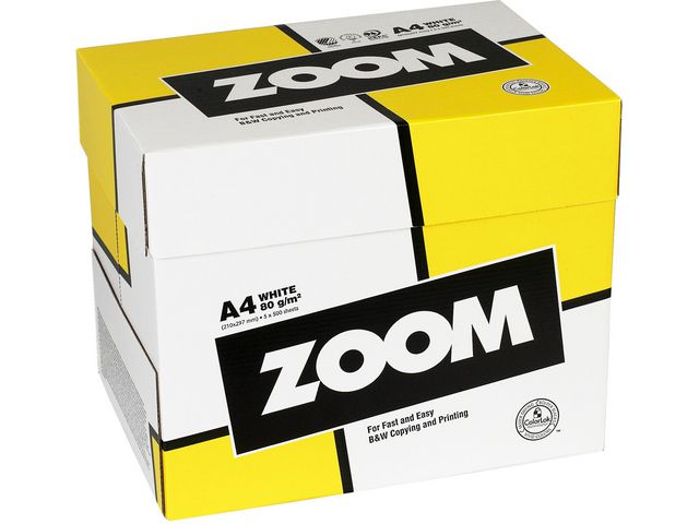 Papper ZOOM A4 ohålat 80g 2500ark