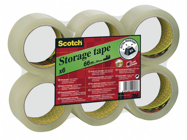Packtejp Scotch 50mm x 66meter transp PP 6st