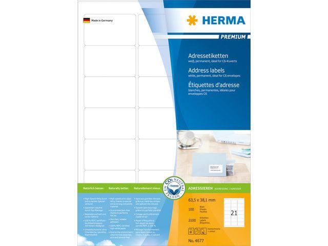 Etikett på A4 ark 63,5x38,1mm 3x7st/A4 - 100ark (Herma)