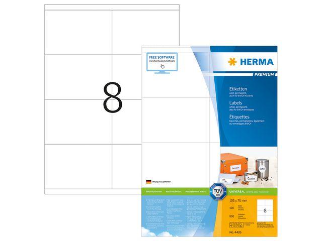 Etikett på A4 ark 105x70mm 2x4st/A4 100ark (Herma)