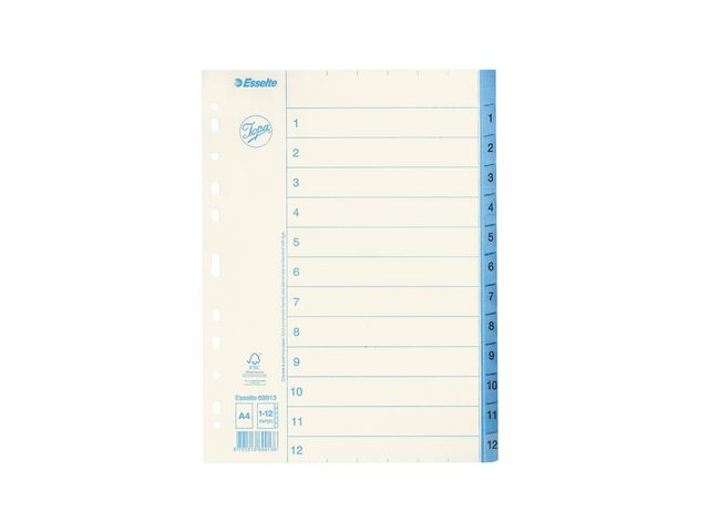 Pärmregister 1-12 papper Jopa 10st