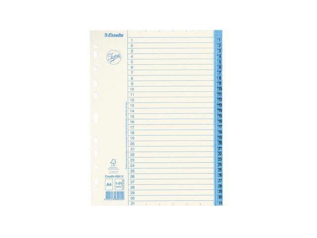 Pärmregister 1-31 papper Jopa 10st