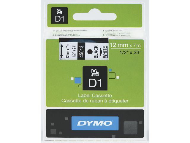 Märkband DYMO D1 12mm svart på vit