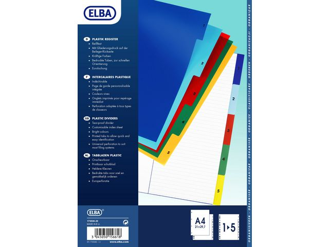 Pärmregister 1-5 plast Elba olikfärgade flikar 25st