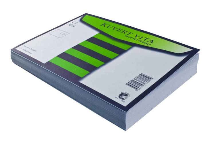 Kuvert C5 H2 vita (fönster-höger) självhäftande med remsa 50st