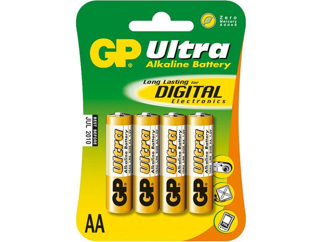 Batteri GP Ultra LR6 - AA 1,5V 4st/fp