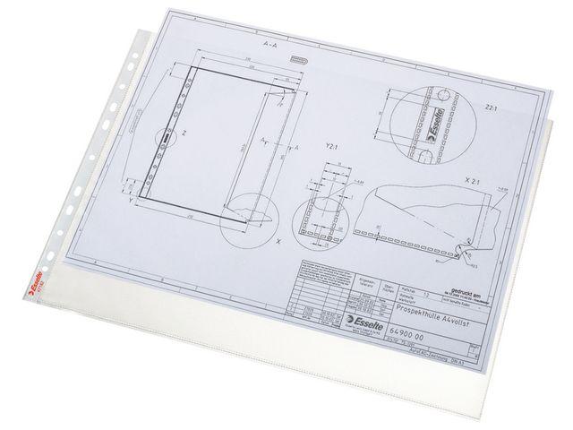 Plastfickor för pärm A3L liggande/öppn långsida 0,08 präglad 50st