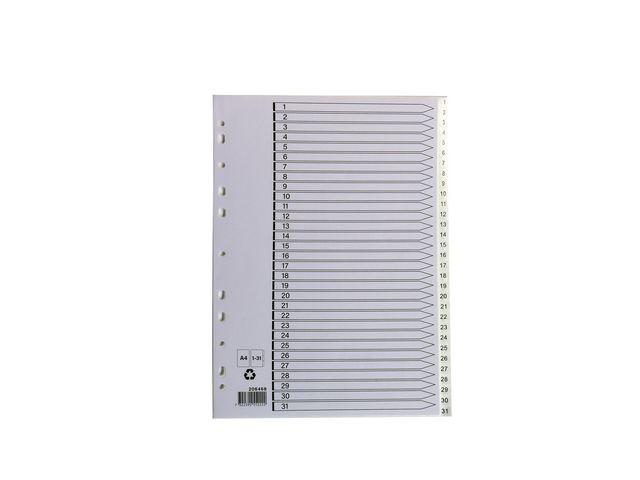 Pärmregister plast vit 1-31