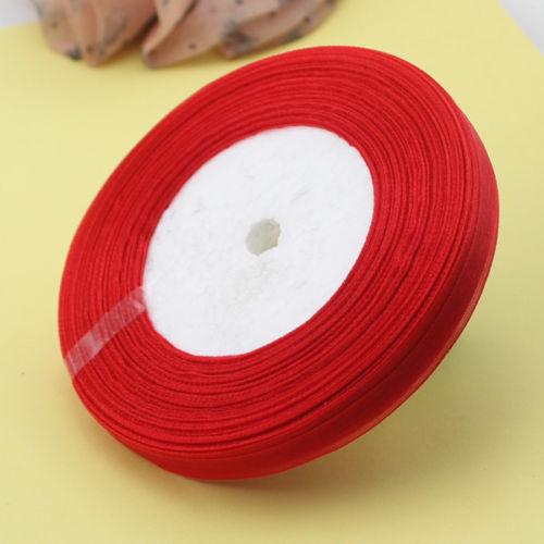 Organza band 1 cm röd