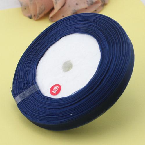 Organza band  mörkblå 1 cm
