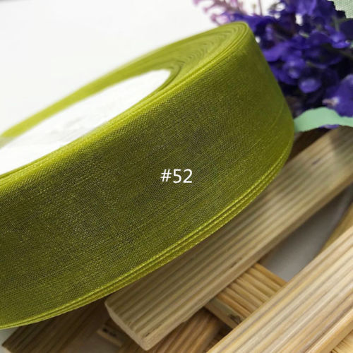 Organzaband olivgrön 1 cm