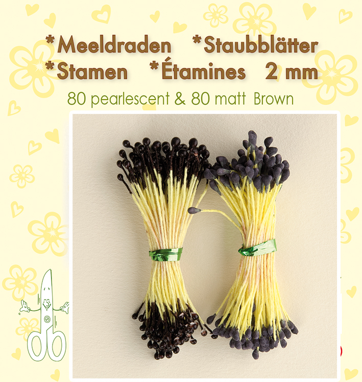 "Leane Stamen 2mm 80 Matt + 80 Pearl ""Brown"""