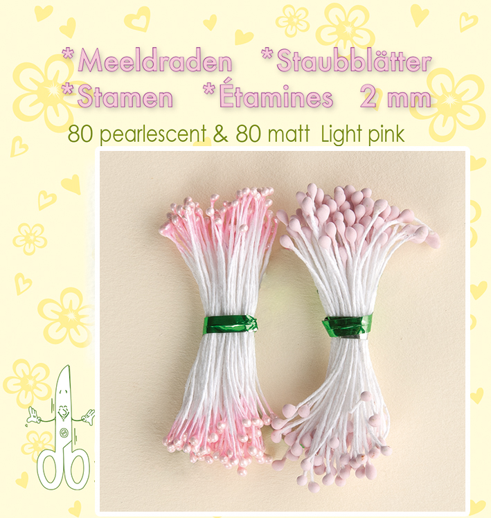 "Leane Stamen 2mm 80 Matt + 80 Pearl ""Light Pink"""