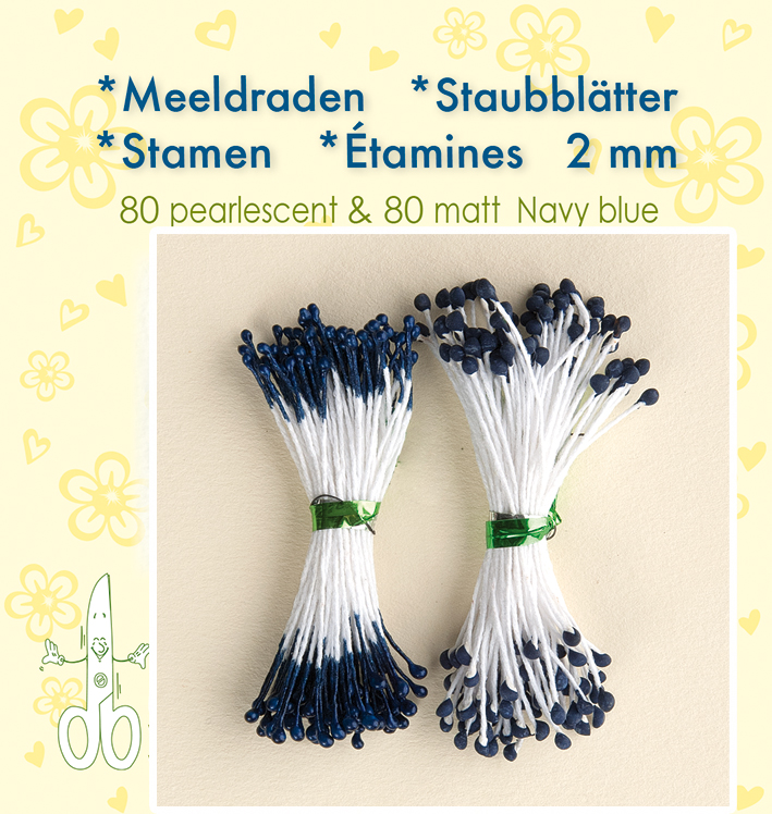 "Leane Stamen 2mm 80 Matt + 80 Pearl ""Navy Blue"""