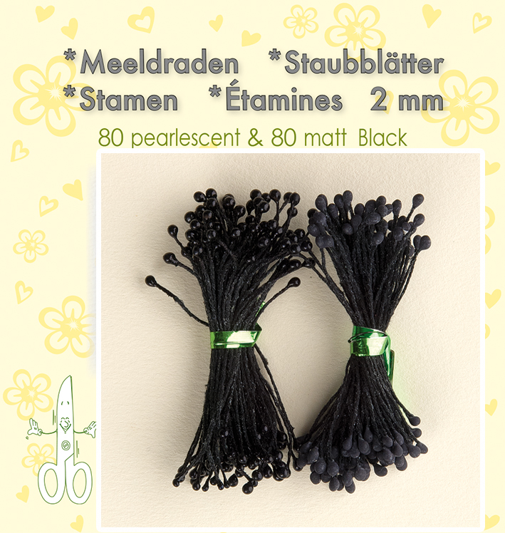 "Leane Stamen 2mm 80 Matt + 80 Pearl ""Black"""